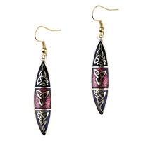 Elegant Black And Red Oval Fish Hook Earrings