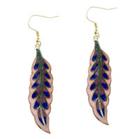 Pink And Blue Willow Leaf Fish Hook Earrings