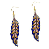Blue And Pink Willow Leaf Fish Hook Earrings