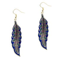 Dark Blue Willow Leaf Fish Hook Earrings