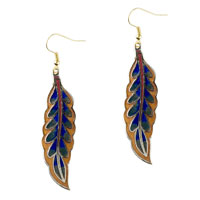Orange And Blue Willow Leaf Fish Hook Earrings