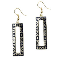 Filigree Vintage Antique Golden And Black Rectangular Dangle Fish Hook Earrings
