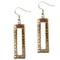 Filigree Vintage Antique Golden And Orange Rectangular Dangle Fish Hook Earrings