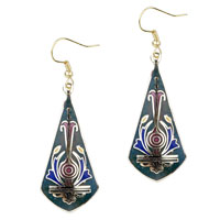 Dark Green Sword Shaped Fish Hook Earrings