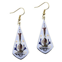 Fashion Silver Plated White Sword Shaped Fish Hook Earrings Drop