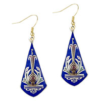 Blue Sword Shaped Fish Hook Earrings Drop