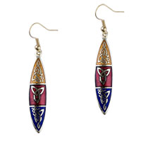 Elegant Tan Red And Dark Blue Shuttle Fish Hook Earrings For Women