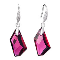Wine Red Swarovski Crystal Hook Dangle Earrings For Women