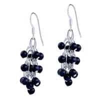 Vintage Black Gemstone Cluster Crystal Dangle Earrings