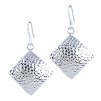 Vintage Fish Scale Pattern Square Dangle Hook Earrings