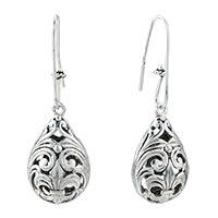 Victorian Design Drop Vintage Silver Plated Hook Earrings For Women