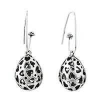 Open Heart Filigree Silver Plated Hook Earrings Gifts For Women