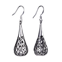 Teardrop Filigree Vintage Antique Dangle Fish Hook Earrings