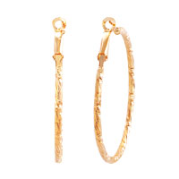 18 K Gold Plated Simple Textured Hoop Earrings Stud Fashion Jewelry