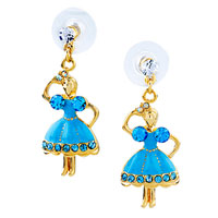 Dangle Blue Cz Dress Dancing Girl Earrings Stud 14 K Gold Plated