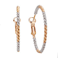 18 K Gold Plated Silver Tone Interphase Simple Hoop Earrings