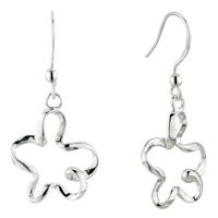 Plum Blossom Dangle Sterling Silver 925 Fish Hook Earrings