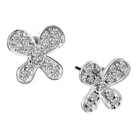 April Birthstpne Butterfly Stud 925 Sterling Silver Cz Earrings