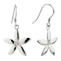 Silver Plum Blossom Sterling 925 Dangle Fish Hook Earrings