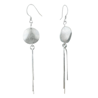 Dangle Circle Long Linear 925 Sterling Silver Fish Hook Earrings