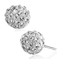 Adorable White Crystal Ball April Birthstone Stud Glam Earrings