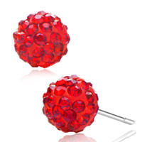 Adorable Red Garnet Crystal Ball July Birthstone Stud Glam Earrings