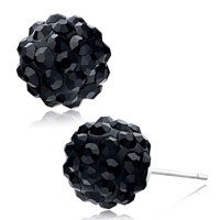 Adorable Black Resin Crystal Ball Silver Plated Stud Fancy Earrings