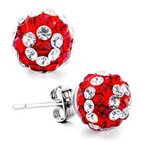 Ball April July Clear Red Birthstone Swarovski Crystal Stud Earrings