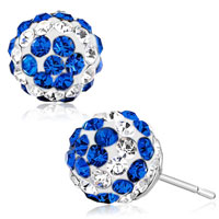 Adorable Pave Clear Blue Crystal Ball Silver Plated Stud Earrings