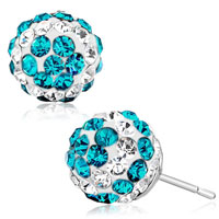 Ball April December Birthstone Clear Blue Zircon Swarovski Crystal Stud Earrings