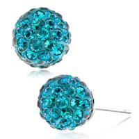 Ocean Blue Crystals Diamond Birthstone Shamballa Studs Earrings
