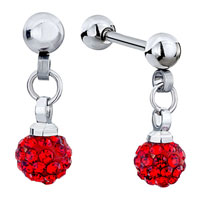 Cartilage Earrings Disco Ball July Birthstone Red Crystal Dangle