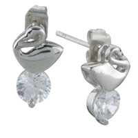 Goose Clear Crystal Cubic Zirconia Round Earrings Re Stud