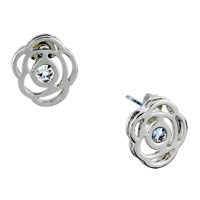 Rose Clear Crystal Cubic Zirconia Stud Earrings For Fashion Women