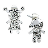 Boy Girl Lover Clear Crystal Cz Earrings Re Stud