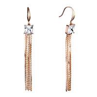 Golden Square April Clear Crystal Chain Tassel Dangle Earrings