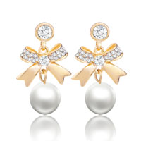 Dangle Bowknot April Clear White Shell Freshwater Pearl Earrings