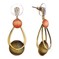 Elegant Orange Ring Brown Glass Earrings Gift