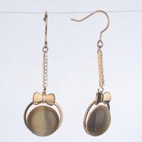 Beautiful Golden Bow Ball Dangle Fish Hook Earrings