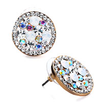 Pave Multicolor Crystal Clear Rhinestone Stud Earrings Golden Tone