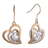 Golden Heart Detailed Swarovski Crystal April Birthstone Clear Dangle Fish Hook Earrings