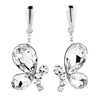 Silver Tone Clear White Drop Crystal Wings Butterfly Animal Earrings