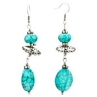 Fancy Cylindrical Turquoise Dangle Fish Hook Earrings Silver Plated