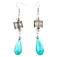 Drop Turquoise Dangle Silver Plated Butterfly Dangle Hook Earrings