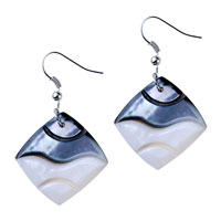 Classic Square Earring Dangle Fish Hook Earrings Silver Plated