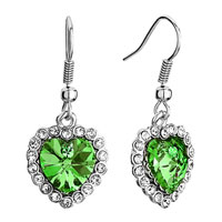 Swarovski Crystal Heart Of The Ocean August Birthstone Peridot Dangle Titanic Fish Hook Earrings