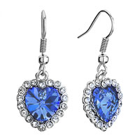 Heart Clear Crystal September Birthstone Sapphire Swarovski Crystal Dangle Fish Hook Earrings