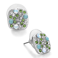 Square Blue Resin August Peridot Clear Crystal Fancy Stud Earrings