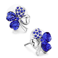 Mothers Day Gifts Four Leaf Clover September Birthstone Sapphire Swarovski Crystal Crystal Heart Stud Earrings