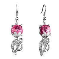 Cat Clear Detailed Crystal October Birthstone Rose Swarovski Crystal Dangle Fish Hook Earrings